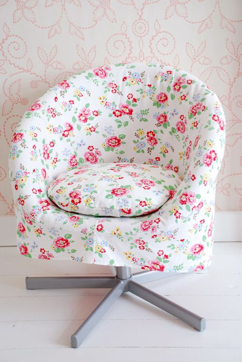 IKEA chair covered in Cath Kidston fabric would be AWESOME for my sewing table area...