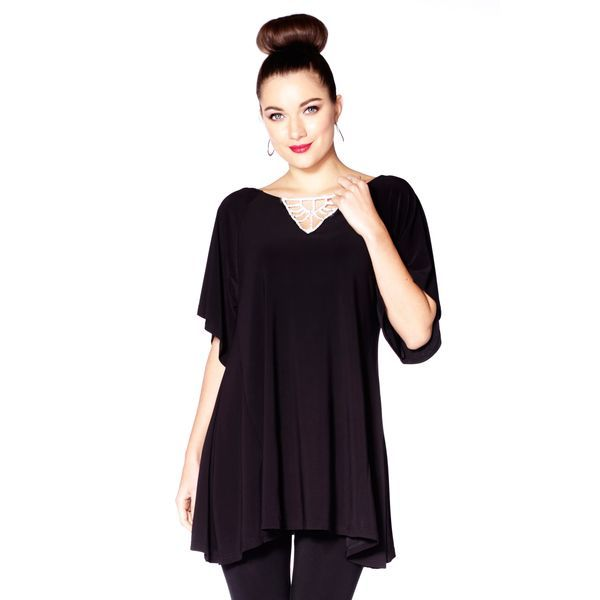 The perfect holiday piece! A crystal neckline creates a twinkling effect on this top complete with elegant flutter sleeves.   Content: 92% Polyester, 8% Spandex  Fit: Relaxed