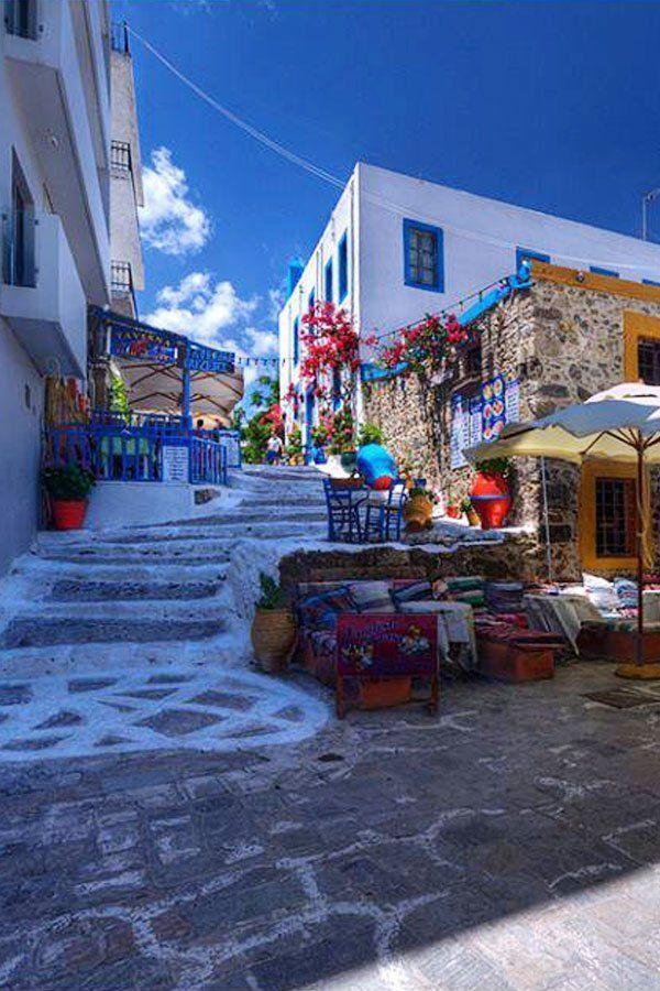 Up the steps on Kos Island , Greece