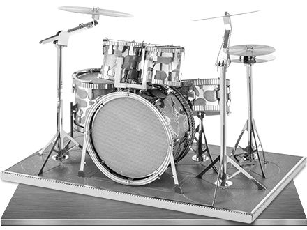 model drum kit by Metal Earth, DIY 3D models made from laser cut sheets of metal