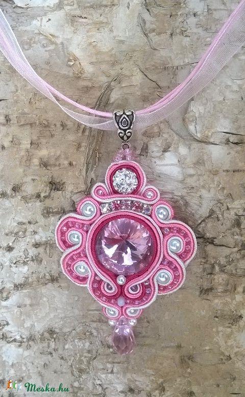 Rózsaszín romantika nyaklánc, Ékszer, óra, Nyaklánc, Meska