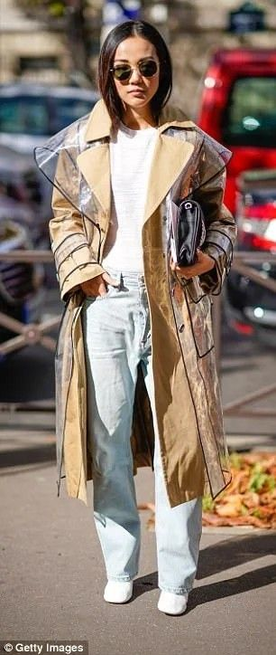 Plastic wraps. Plastic is the fabric for 2018. Layered coat.