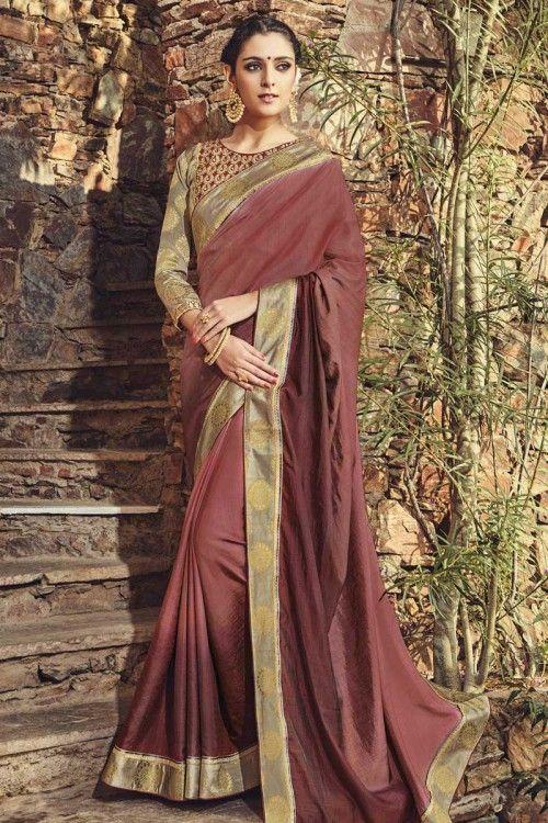 Maroon Art Silk Saree with Art Silk Blouse Online   http://www.andaazfashion.co.uk/womens/sarees