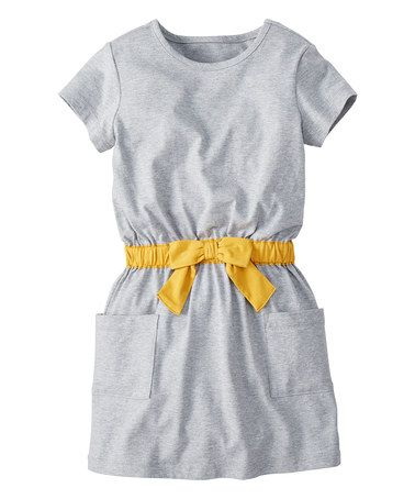 Heather Gray Take a Bow Dress #zulily #zulilyfinds
