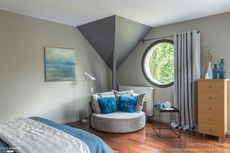 Une chambre coucher design aux tons gris et bleu - Une chambre a coucher ...