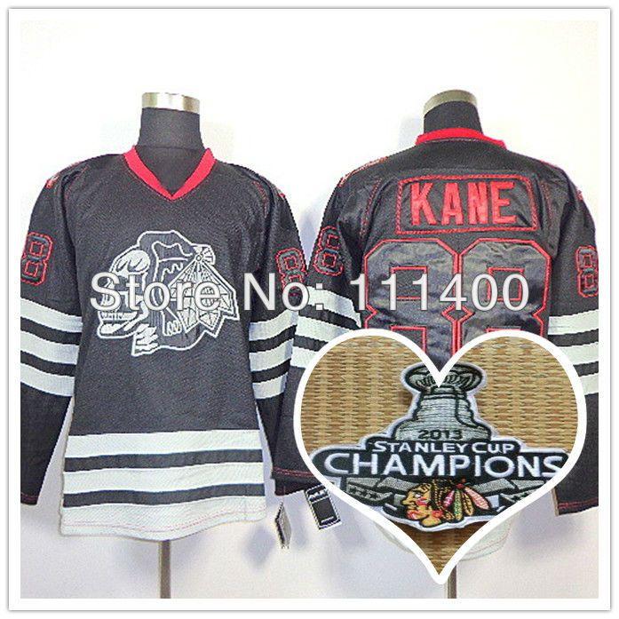 Хоккей кофта # 88 патрик кейн черный череп кубок стэнли чаша чемпионы аутентичные хоккей с шайбой джерси размер : 48 - 56