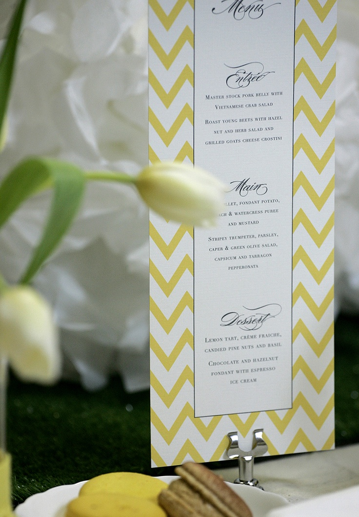 Long thin menu with yellow chevron pattern www.papyrusdesign.com