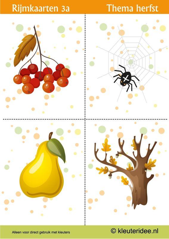 Rijmen met kleuters 3a, thema herfst, juf Petra van kleuteridee, free printable.