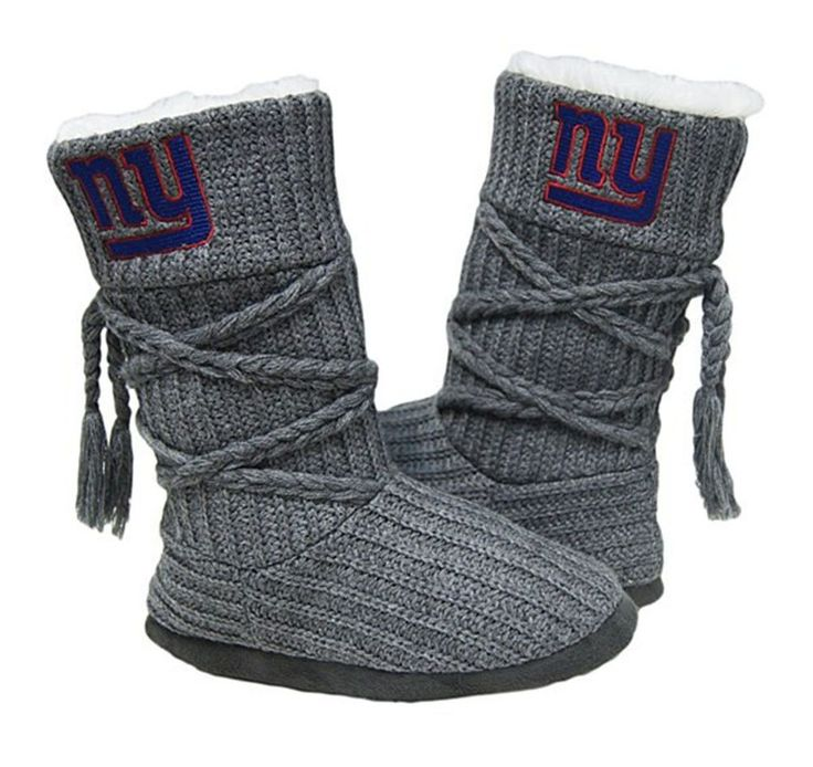 New York Giants slippers for women come in 4 sizes, are high boot style style with embroidered team logo, fur lining and hard bottom. Size S fits shoe sizes 5-6; M fits 7-8; L fits 9-10, XL fits 11-12