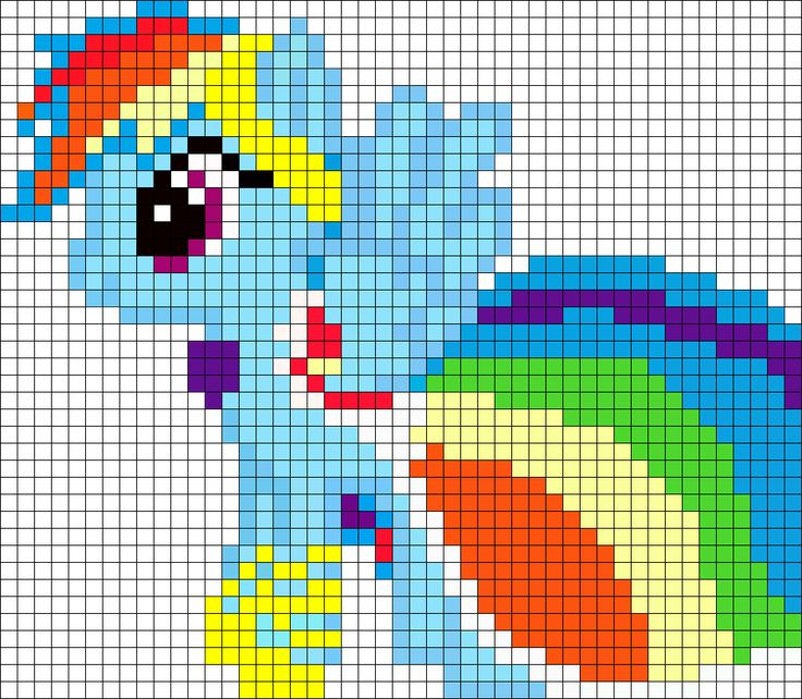 Gala Rainbow Dash My Little Pony Perler Bead Pattern / Bead Sprite