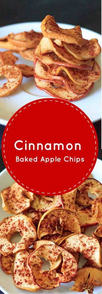 Cinnamon apple chips. No added sugar, no dehydrator required! Vegan, gluten-free, and healthy snack any time.