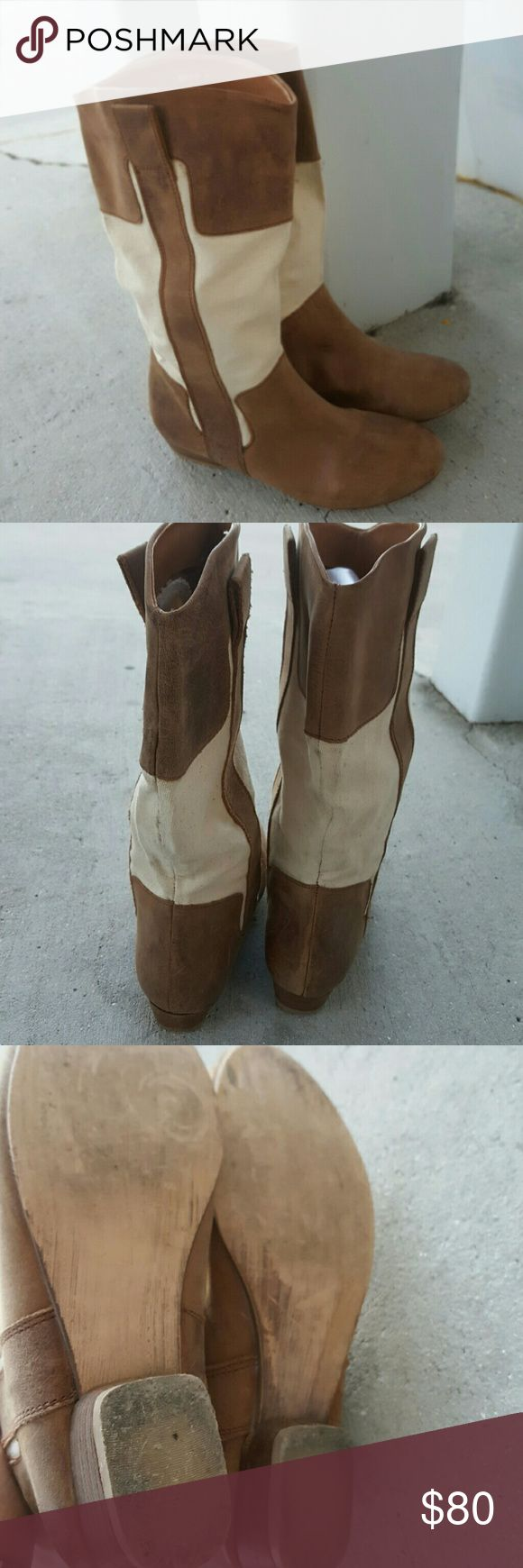 "DEENA &  OZZY BOOTS Canvas and leather boots 1""heel  Size 6 Pre-loved priced accordingly worn well Deena & Ozzy Shoes Heeled Boots"