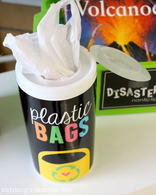 A little free resource to spruce up an old canister of wipes. Print the label, laminate, and hot glue to the container...and you have the perfect storage space for all of those plastic bags your students may need over the years.