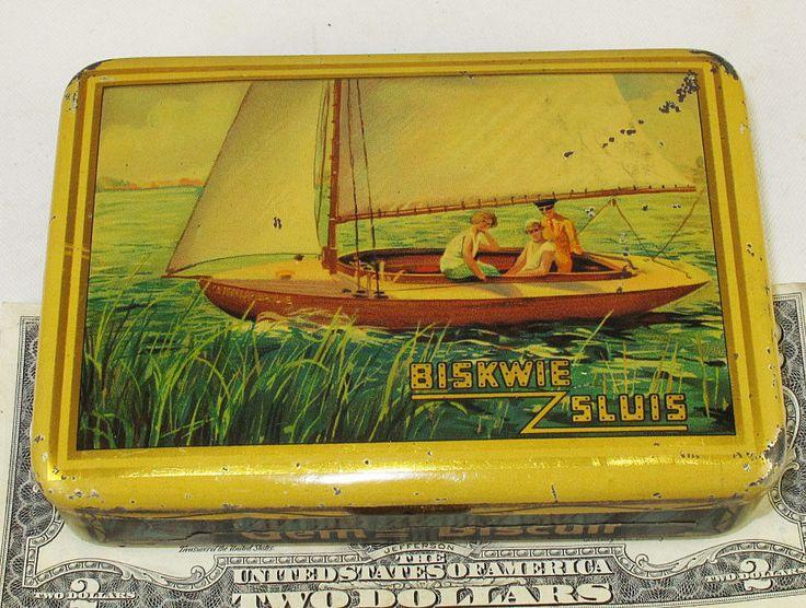 SLUIS BISCUITS DUTCH POCKET SAMPLE TIN c1925 SAILING YACHTING BISKWIE SLUIS