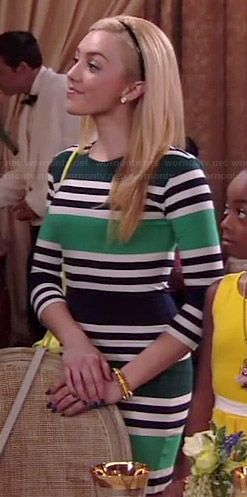 Emma's green striped bodycon dress on Jessie.  Outfit Details: http://wornontv.net/36964/ #Jessie