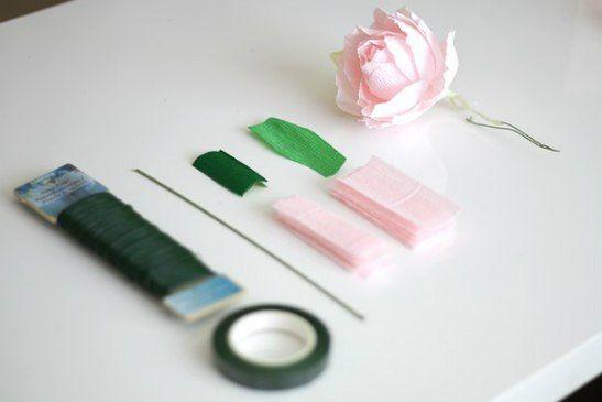 materiais necessários - flor de crepom
