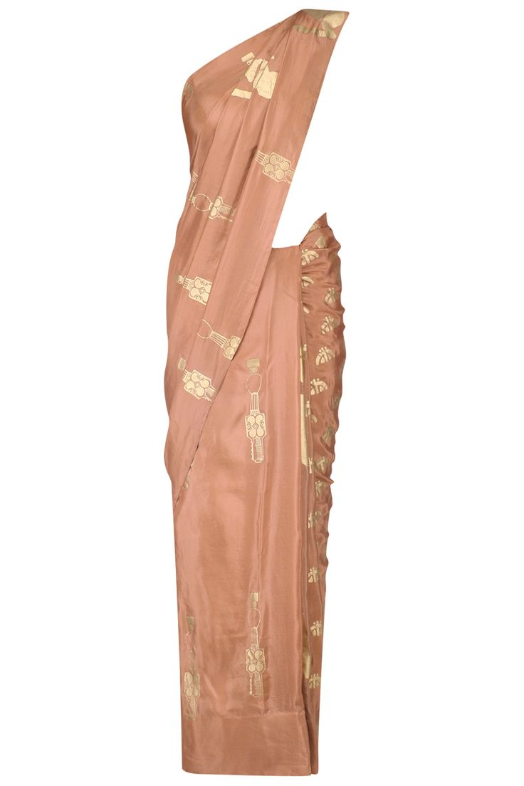 Masaba Dark beige and gold multiple printed motifs saree with red blouse piece available only at Pernia's Pop Up Shop.