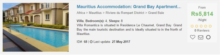 Mauritius Holiday Lettings available 2017-06-23 to   Take a weekend break. Book your holiday lettings for the weekend of 23rd to 25th June 2017 with your family. Cheap low season rates available. We have listed 4 holiday lettings (more holiday lettings in Mauritius), scroll to bottom of page for more. Negotiate and book direct with owners at cheaper rate. If you want to obtain telephone numbers to the respective holiday lettings' owners or agents, then register free of charge (opens new…
