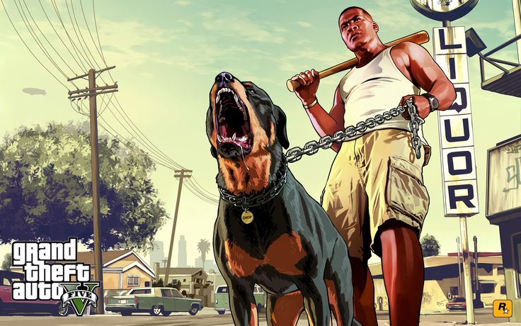 GTA 5 - Franklin and Chop ready to fight 2880x1800 wallpaper