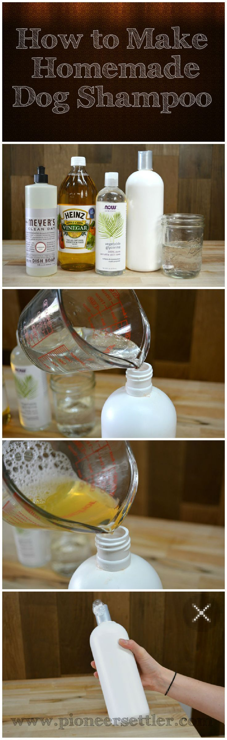 How To Make Homemade Dog Shampoo | Easy recipe anyone can make, natural and inexpensive methods for washing your dog that all beat buying the chemical laden commercial shampoos. #pioneersettler