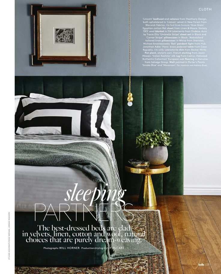 Bedhead in Warwick Fabrics velvet Liaison, in colour New Forest. As featured in Belle Magazine.