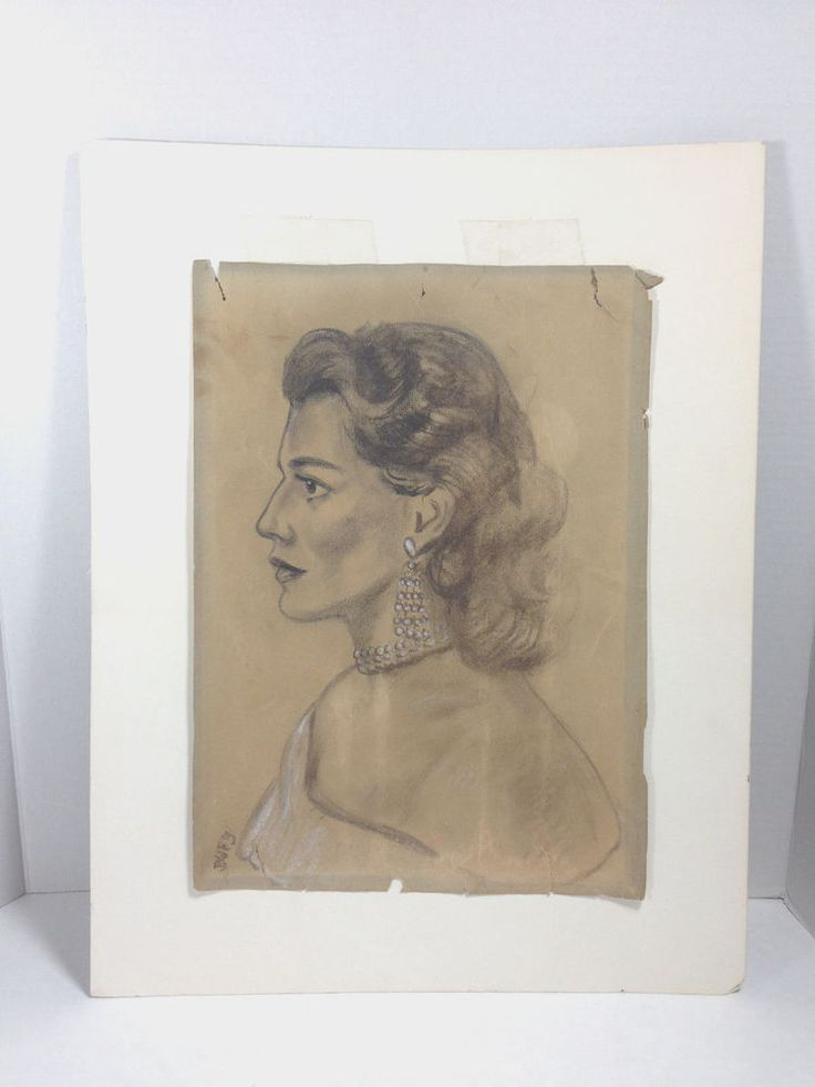 """Vintage Drawing  Art Sketch of Woman C. 40's-50's Signed 10"""" X 14"""" #Illustration"""