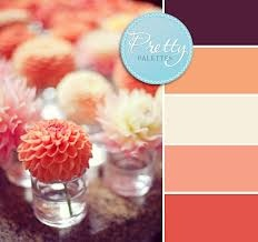 Coral and purples would look great for the Fall season. I like the mini single bloom vases.