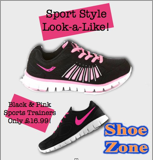 These trainers, perfect for running, are so similar to this Nike pair with it's lightweight soles. It will feel like you are running on air – whilst still looking fabulous! Also why not try swapping the shoelaces for other crazy neon colours to really make a sport style statement! Snap up your pair today for only £16.99! A fraction of the price compared to the Nike trainers! The race is on! #shoezoneista #shoezone #fashion #style #sports #trainers #tips #advice #ladies #womens