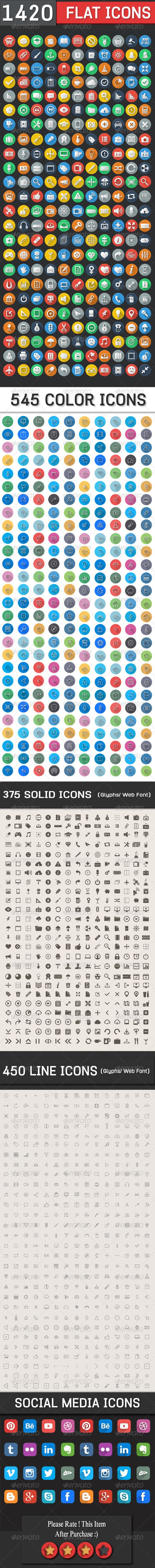 1420 Flat Icons - Colorful Icons Set Check out this #graphicriver item '1420 Flat Icons - Colorful Icons Set' http://graphicriver.net/item/1420-flat-icons-colorful-icons-set/7214124?ref=ikonogirl #new #colorful #flat #icons #icon #big #set