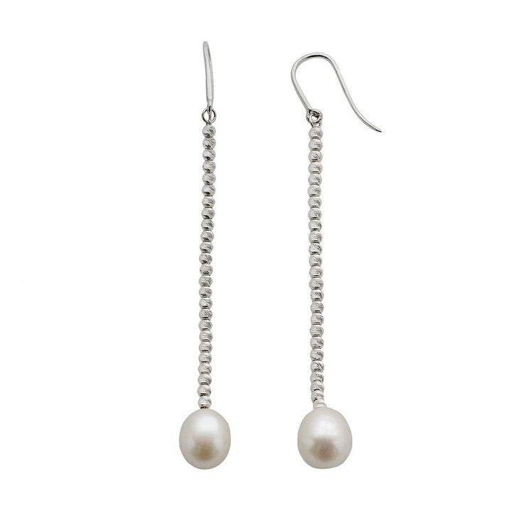 Sterling Silver Freshwater Cultured Pearl Linear Drop Earrings, Women's, White