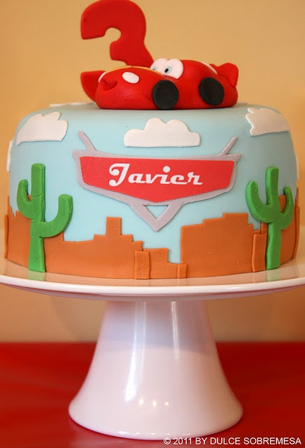 Lightning Mcqueen disney pixar's cars birthday party ideas. Cute cake! See more via www.karaspartyideas.com