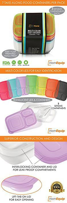 Sectioned Lunch Box. HomEquip 3 Compartment Bento Lunch Boxes with Lids (7 Pk)- Reusable / Disposable Plastic Portion Control Food Saver Containers- Kids Friendly- BPA Free, Microwave & Dishwasher Safe.  #sectioned #lunch #box #sectionedlunch #lunchbox
