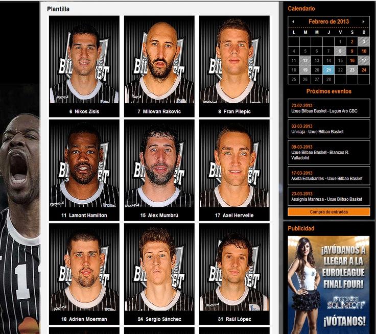 Imagen extraida de la web del Bilbaobasket de parte de su plantila.