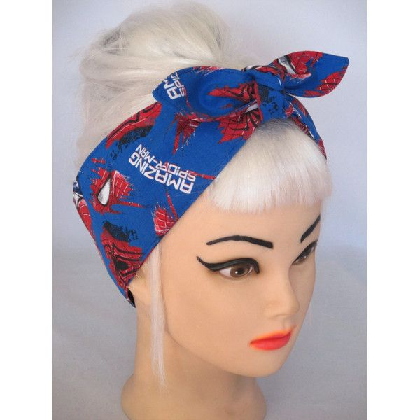 Superhero Headband made from SPIDER MAN Fabric COMICS Head Wrap Scarf... ($10) ❤ liked on Polyvore featuring accessories, comic book, cotton handkerchiefs, cotton bandanas, vintage handkerchiefs and vintage bandana