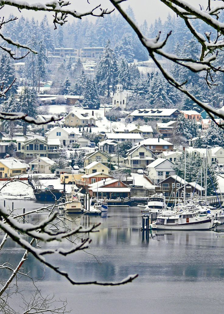 The small town of Gig Harbor on Puget Sound across the bridge from Tacoma, WA Fabulous photo ... photog unknown