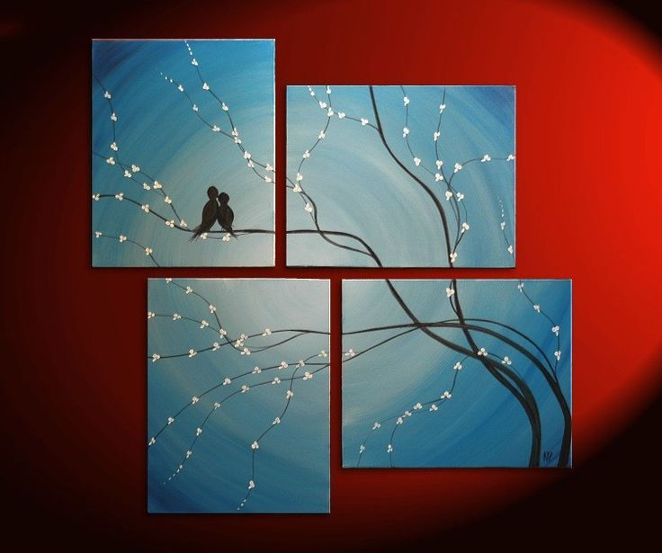 paintingWall Art, Birds Art, Birds Painting, Canvas Paintings, Cherry Trees, Cherries Trees, Living Room, Trees Branches, Tree Branches