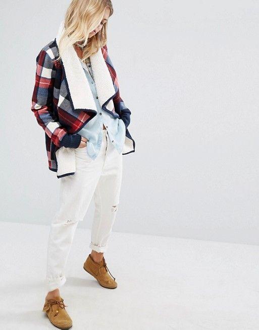 Abercrombie & Fitch | Клетчатая куртка с запахом и подкладкой из искусственного меха Abercrombie & Fitch