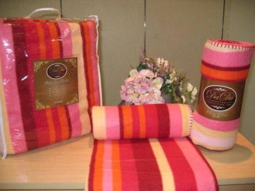 DaDa Bedding Pink Yellow Red Orange Stripes Super Plush Soft Warm Polar Large Oversize Fleece Throw Blanket