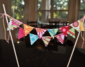 Cake Topper, Fabric mini cake banner bunting. Hmm...maybe use tiny scraps like this to make a pop up card for her.