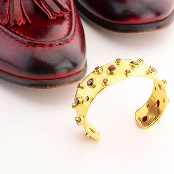 Cuff and Stone Mens Cuff. Gold with Red Garnet Gemstone Cuff