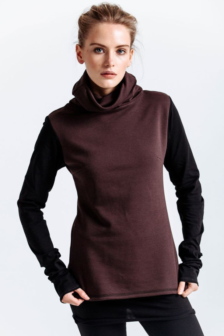 Warm roll-neck made of thick brown jersey with high collar. A combination of two fabrics with different thickness is used in this model: elongated sleeves are made of thinner black fabric.   #mariashi #fashion #nofilter #outfit #outfitoftheday #outfits #outfitpost #clothes #fashionista #fashiondesigner #shopping