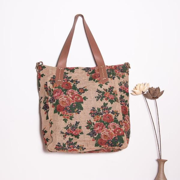 Retro Linen Floral Women Shoulder Bag