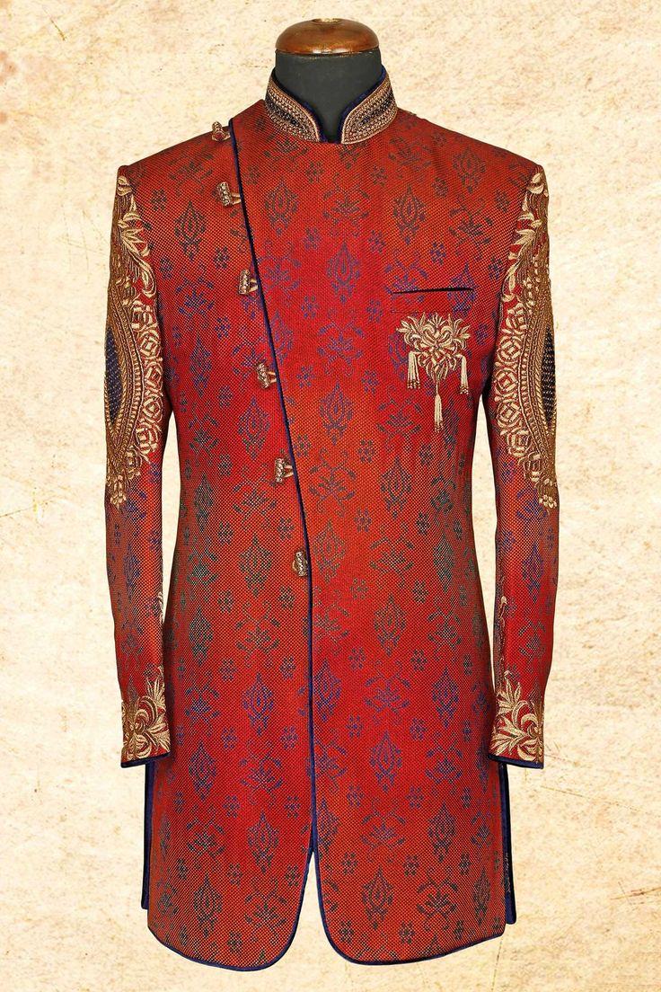 Maroon smart jute silk sherwani with bandhgala-IW601 - IndoWestern Sherwani/Achkans - Sherwani - Men's Wear