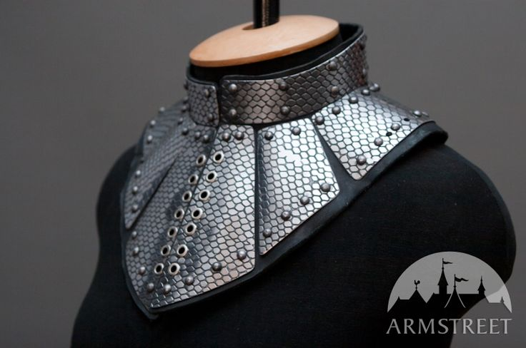 Fantasy gorget armor: etched leather and stainless steel for sale