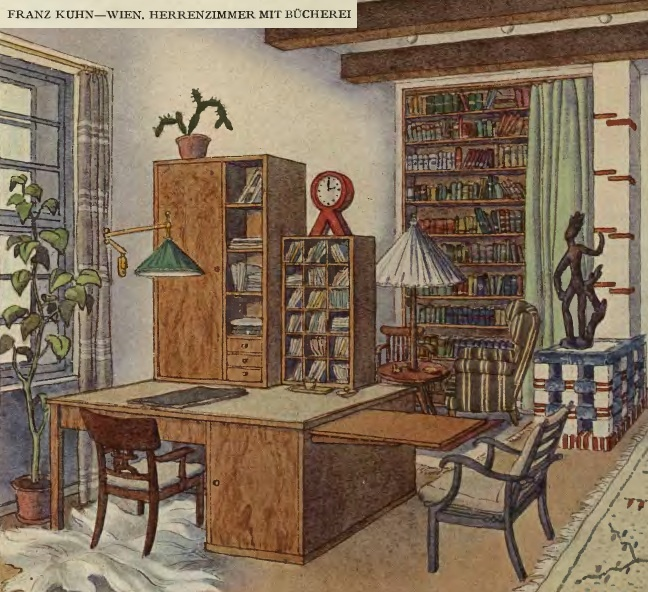 home office: writing desk, library