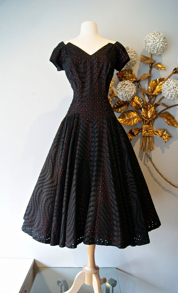 1950's Black and Red Eyelet Cocktail Dress
