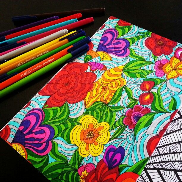 Het Tweede Enige Echte Kleurboek Voor Volwassenen Abstracte Bloemen Adult ColoringDoodles
