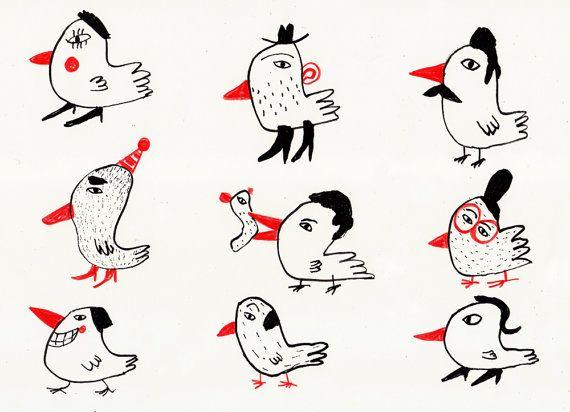 birds or people / ORIGINAL ILLUSTRATION / ink drawing / di Tosya, $30.00
