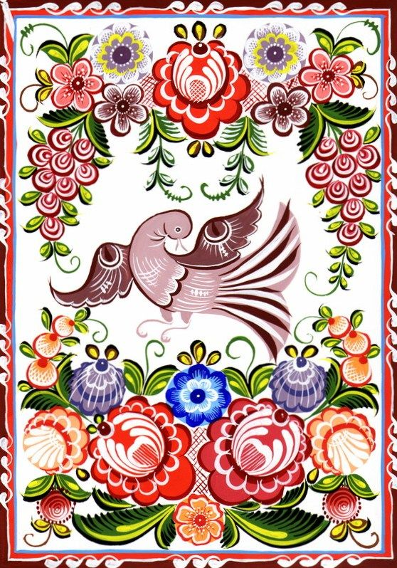 Folk Gorodets painting from Russia. A bird and floral patterns. #art #folk #painting #Russian
