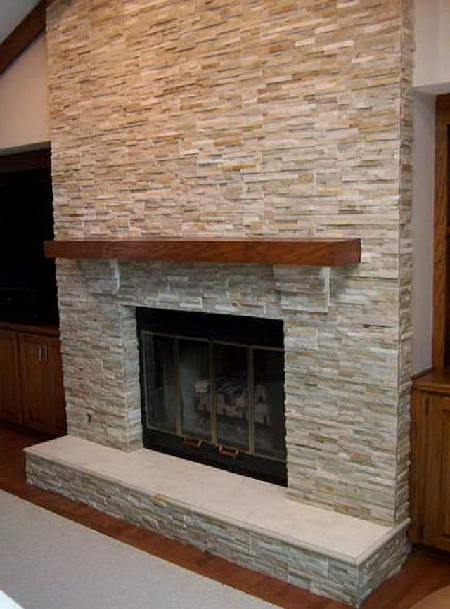 Stone Tile Fireplace | Tile Design Ideas